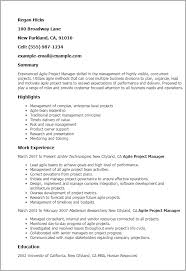 Projects On Resume Professional Agile Project Manager Templates To Showcase Your Talent