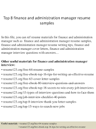 Admin Manager Cv Sample Top 8 Finance And Administration Manager Resume Samples