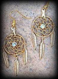 Dream Catcher With Crystals Seeds Of Light Ll Earrings Gold Dream Catcher Earrings With 90