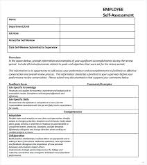 Assessment Example Example Of Employee Self Assessment Elegant Performance Appraisal ...