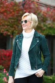 green suede leather moto jacket