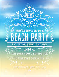 Beach Invitation Beach Party Invitation With White Ornaments And Ribbons On A