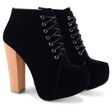 chunky block heel ankle boots with lace up fastening great for dress up or dress