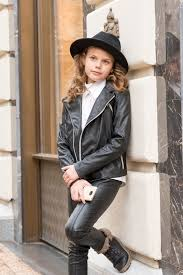 girls black leather jacket faux leather biker jacket eco image 0
