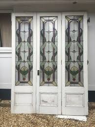 xl art nouveau bifold stained glass