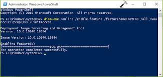 enable net framework 3 5 on windows 10