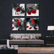 4 pieces combinated guitar rose flower canvas painting romantic modern home decor music love wall picture painting on the wall in painting calligraphy  on black red and white wall art with 4 pieces combinated guitar rose flower canvas painting romantic