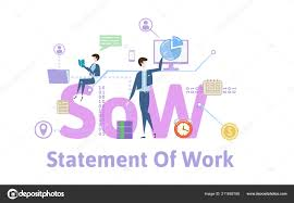 design statement of work sow statement of work concept table with keywords letters
