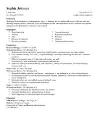 branch manager sample resume