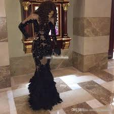 Le Chateau Shoe Size Chart Luxury Black Feather Prom Dresses With Long Sleeves Sheer Champange Arabic Evening Gowns Real Tulle Mermaid Formal Dresses Gowns Plus Size Le Chateau