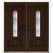 Front Doors double front doors with glass photos : Oak - Double Door - Front Doors - Exterior Doors - The Home Depot