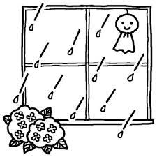 てるてるぼうずとアジサイ梅雨夏の季節6月の行事無料白黒イラスト