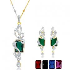 ara elegant gold and rhodium plated cz pendant set with set of 5 changeable stone