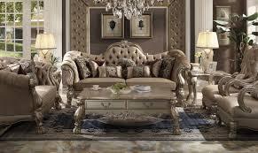 acme dresden 52090 gold patina champagne velvet sofa loveseat table set 5pcs