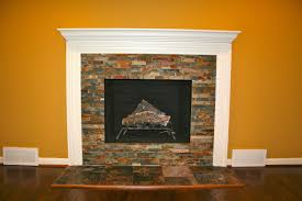 stack stone fireplace. Witching Fresh Stacked Stone Fireplace Over Brick Stack
