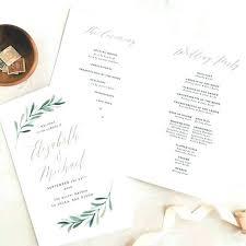 Wedding Programs Template Free Image 0 Greenery Wedding Programs Template Printable Folded