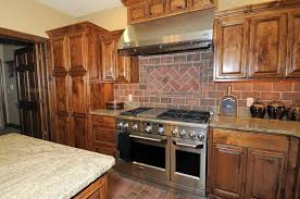 Red Brick Tiles Kitchen French Country Kitchen With Red Brick Accent Wall Ronikordis