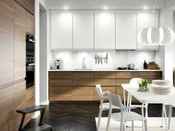 modern white kitchen ikea. A Kitchen With Walnut Effect Doors, White Accent Doors And Worktop. Combined Modern Ikea T