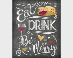 chalkboard kitchen wall art eat drink be merry print hand drawn kitchen poster kitchen wall decor 8x10 11x14 16x20 instant download on food and drink wall art with chocolate wall art kitchen decor chocolate lover gift