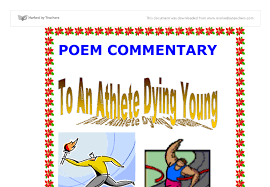 donne commentary the broken heart gcse english marked by  poem commentary to an athlete dying young by a e housman