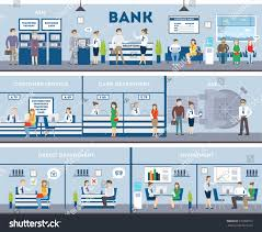 bank and office interiors. Bank And Office Interior. Inside Interior With Reception, Consulting, Customer, Atm Interiors