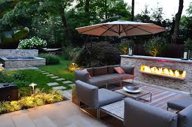 image of outdoor electric fireplace and furniture