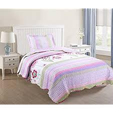 Amazon.com: Brandream Twin Size Girls Romantic Rustic Style Summer ... & MarCielo 2 Piece Kids Bedspread Quilts Set Throw Blanket for Teens Girls  Bed Printed Bedding Coverlet Adamdwight.com