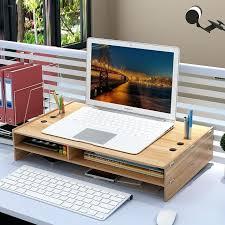 monitor stands for desk stand desktop computer riser wooden adjustable with storage7