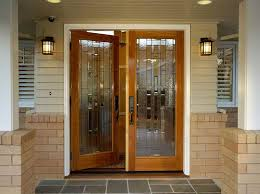 accessories inspirations double glass front door ideas with brown wooden frames feat modern wall