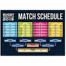 2019 Rugby World Cup Fixtures Wall Poster A3 For Office