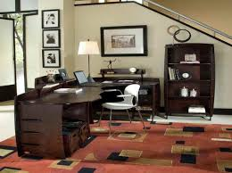 ideas for office decor. Wonderful Home Office Decor Furnished With Unique Desk And Giant Sized Table Lamp Ideas For