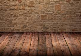wood floor and stone wall