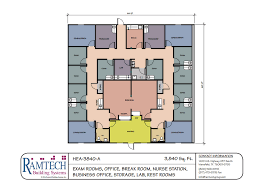 Medical office layout floor plans Cardiology Department Four Physician Office 3840sf 11 Medical Exam Room And Business Office Floor Plan Ramtech Building Systems Medicalfloorplans Ramtech
