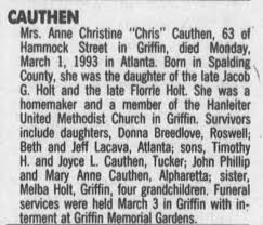 Obituary for Anne Christine CAUTHEN (Aged 63) - Newspapers.com