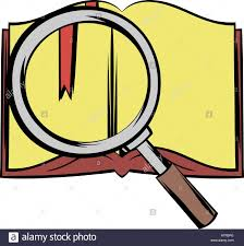 open book with loupe icon in cartoon style isolated vector ilration