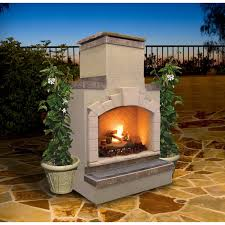 cal flame 48 inch outdoor gas fireplace with standard chimney