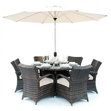 ex display texas 6 seater round table rattan garden furniture set black