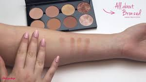 swatches all about bronzed blush contour palette makeup revolution