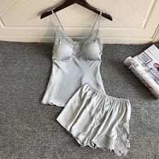 <b>BZEL Pajamas</b> Sets Sexy <b>Sleepwear</b> Silk Satin Underwear V neck ...