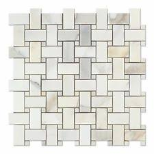 marble basketweave tile. Calacatta Gold Marble Polished Basketweave Mosaic Tile W/ Dots R