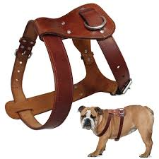 genuine leather dog harness brown real leather dogs walking training vest adjustable straps medium large pitbull