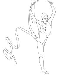Small Picture Ribbon Individual All Around Rhythmic in Gymnastic Coloring Page