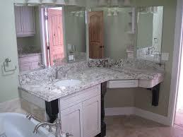 white bathroom cabinets with granite. Cream Porcelain Backsplash Tile Granite Countertop Mounted Washbasin Mirror Houseplants On Small Planter Dark Brown Vanity Bathroom Cabinets White With R