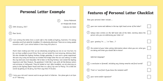 Official Letter Format Australia Personal Letter And Writing Checklist Australia Personal