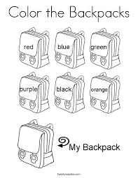 Small Picture Backpack Coloring Page Twisty Noodle