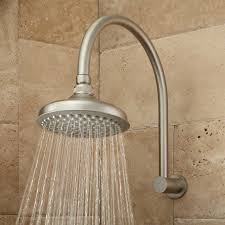 roux rainfall shower head with modern arm brushed nickel
