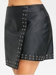 studded plus size faux leather skirt black 4xl