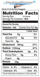 Chick Fil Nutrition Facts Chart 11 Explanatory Chick Fil A Nutrition Data
