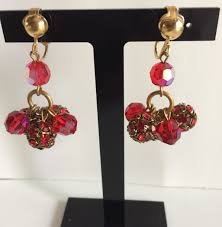 red ab swarovski faceted bead chandelier clip earrings