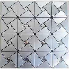 Silver Patterns Simple Peel And Stick Tile Pinwheel Patterns Silver Aluminum Metal Wall